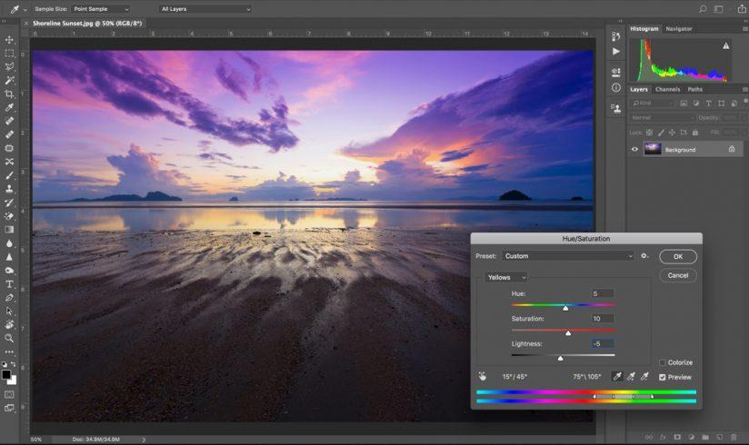 Photoshop Hue Saturation controls