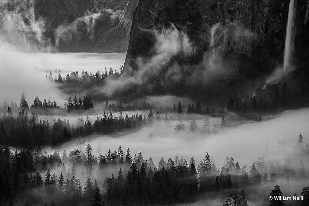 Morning mist at dawn, Yosemite Valley, Yosemite National Park, California, 2016