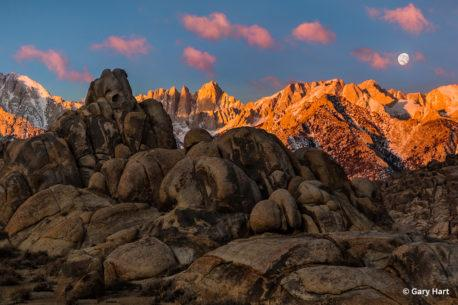 California's Eastern Sierra - Sunrise Moonset, Mt. Whitney, Alabama Hills.