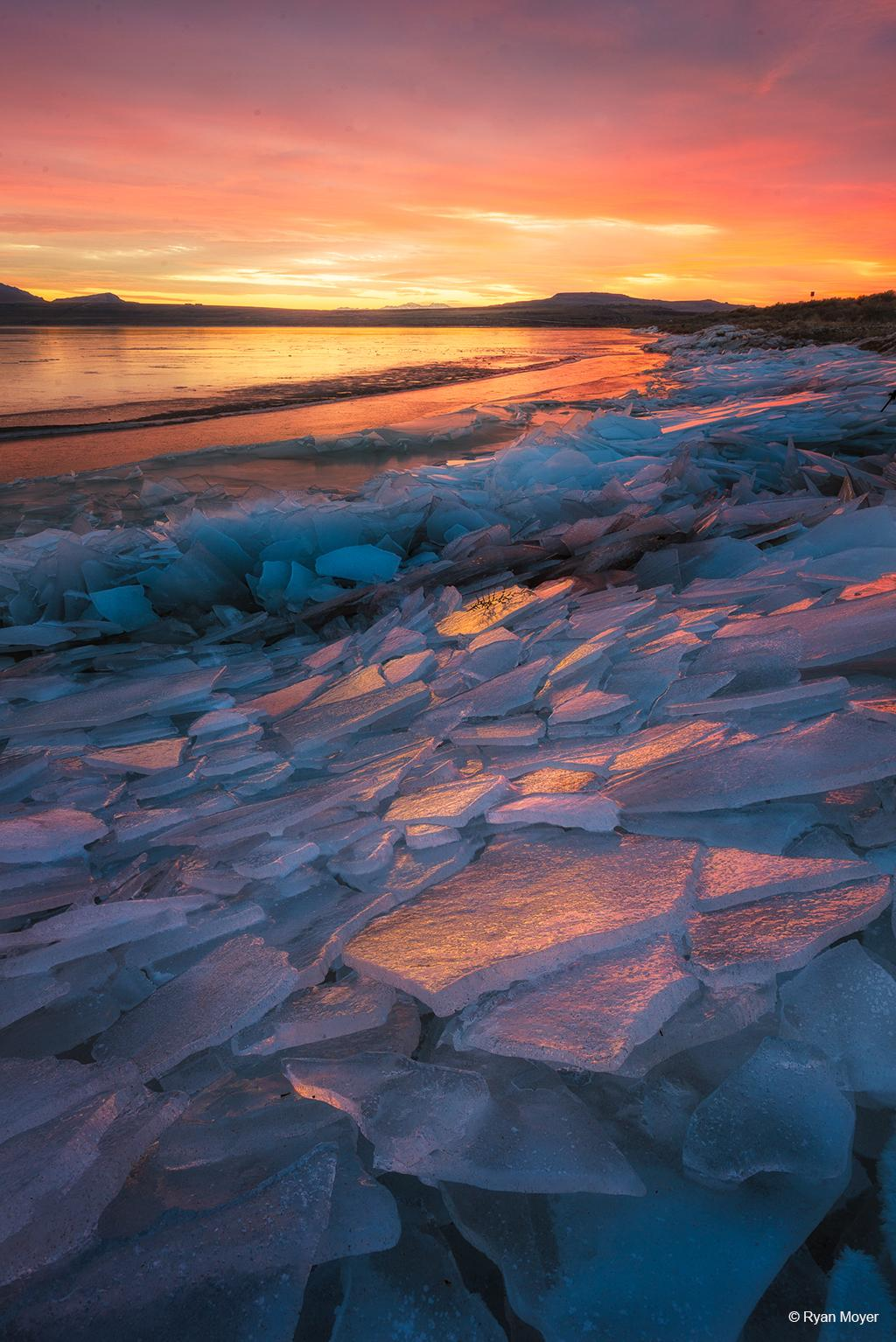 """Today's Photo Of The Day is """"Pink Ice"""" by Ryan Moyer. Location: Great Salt Lake, northern Utah."""