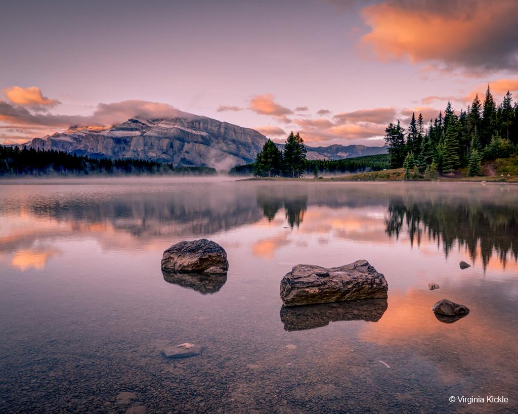"""Today's Photo Of The Day is """"Two Jack Lake at Sunrise"""" by Virginia Kickle. Location: Banff National Park, Alberta, Canada."""