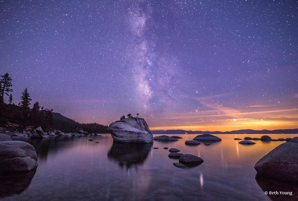 "Today's Photo Of The Day is ""Milky Way Over Bonsai Rock"" by Beth Young. Location: Lake Tahoe, Nevada."