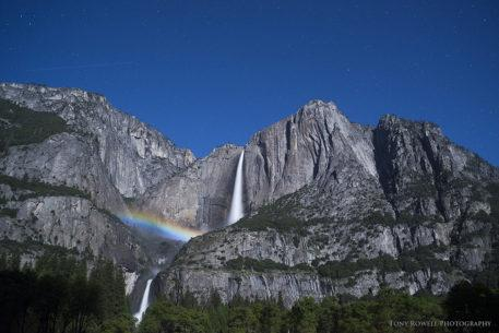 """Today's Photo Of The Day is """"Moonbow and Stars at Yosemite Falls"""" by Tony Rowell. Location: Yosemite National Park, California."""