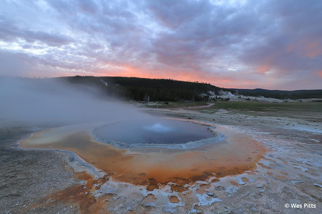 Geyser bubbles at sunrise taken with the Canon EOS 6D Mark II