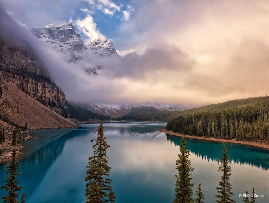 "Today's Photo Of The Day is ""Misty Moraine Morning"" by Philip Kuntz. Location: Banff National Park, Alberta, Canada."