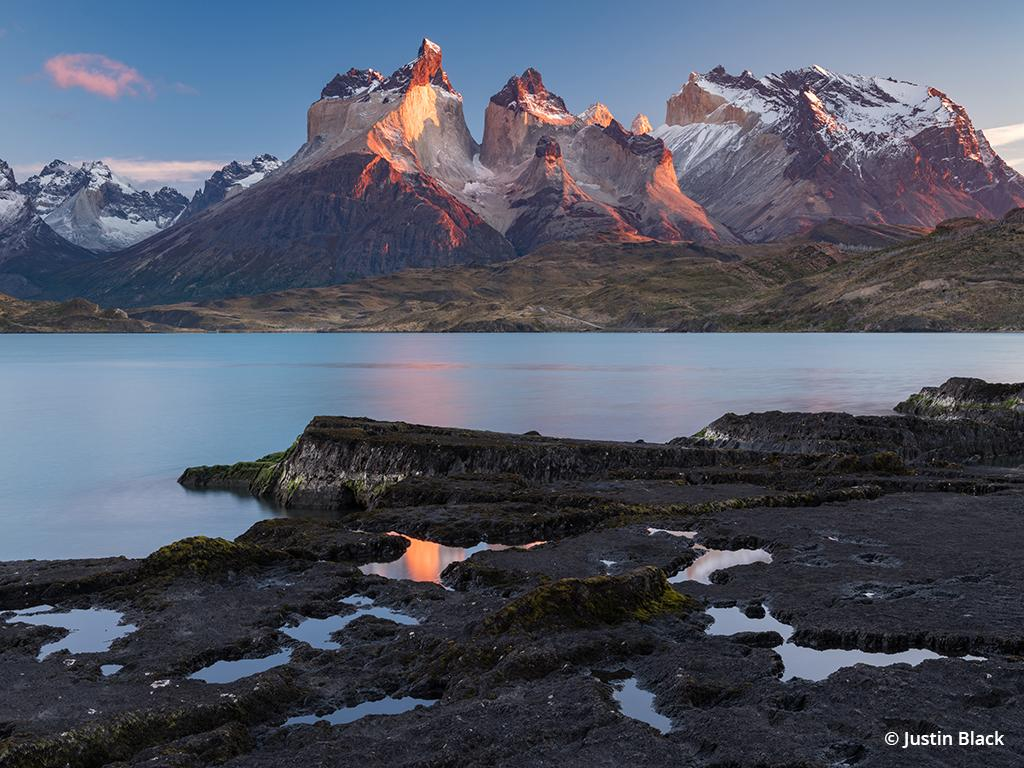 Morning light on the Cuernos del Paine over Lago Pehoe, taken with the Fujifilm GFX 50S