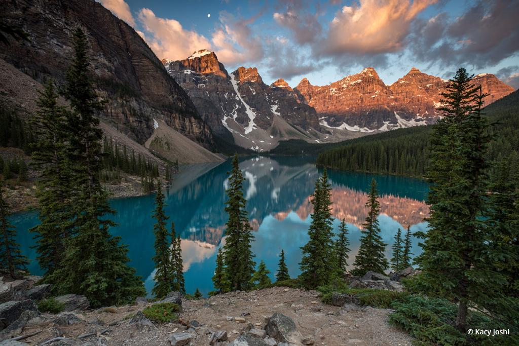 """Today's Photo Of The Day is """"Peaks Aglow"""" by Kacy Joshi. Location: Banff National Park in Alberta, Canada."""