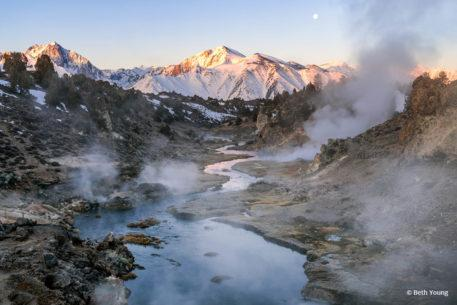 """Today's Photo Of The Day is """"Moonset Over Hot Creek"""" by Beth Young. Location: Eastern Sierra, California."""