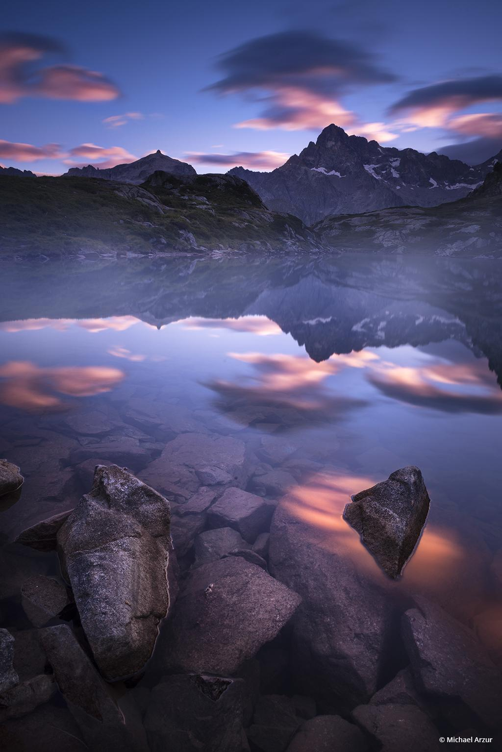 """Today's Photo Of The Day is """"Sunrise at Pétarel Lake"""" by Michael Arzur. Location: Pétarel Lake, French Alps."""