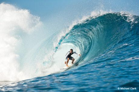 Surf photography, taken from a boat in Tahiti