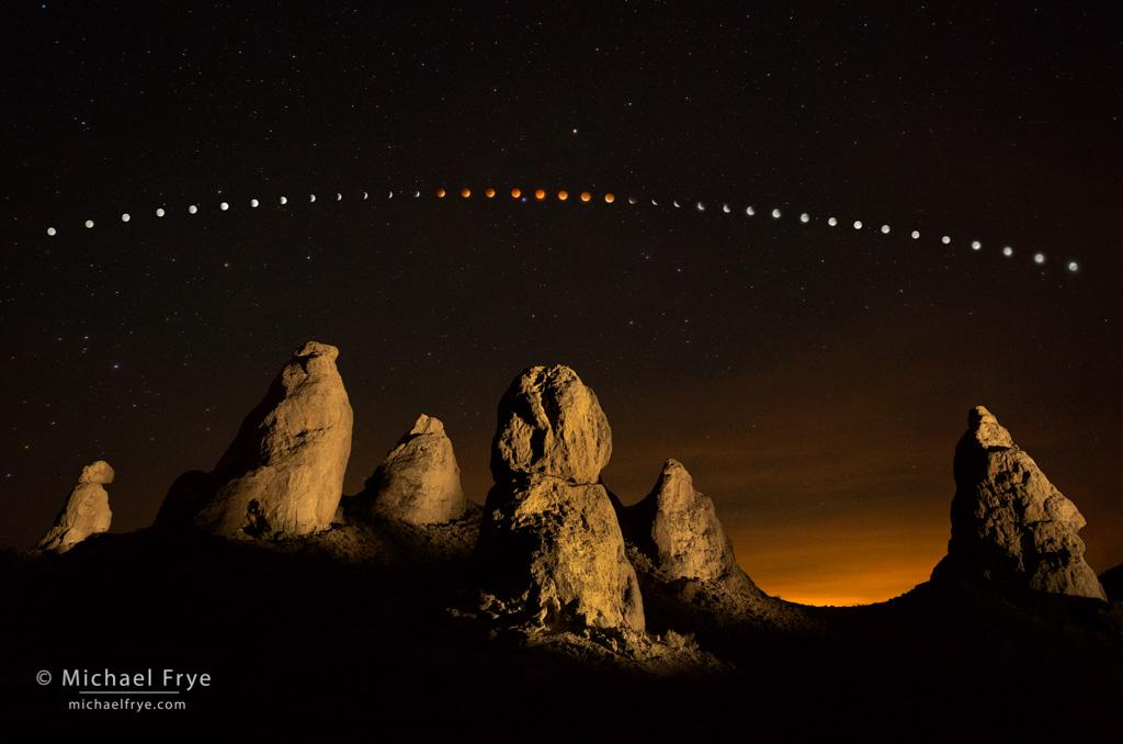 Photographing a lunar eclipse at Trona Pinnacles, California