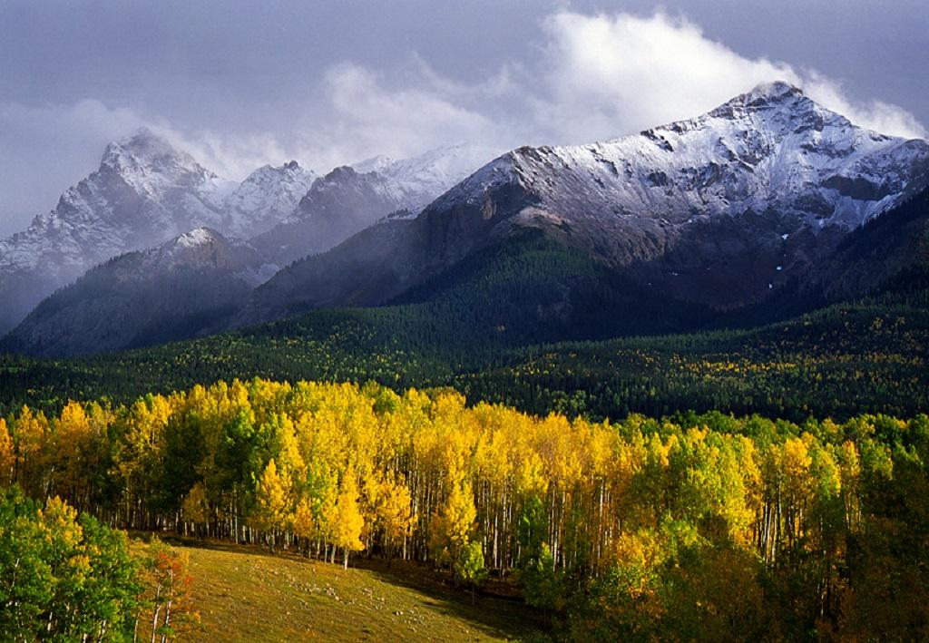 A clearing snowstorm in the rugged San Juan Mountains.
