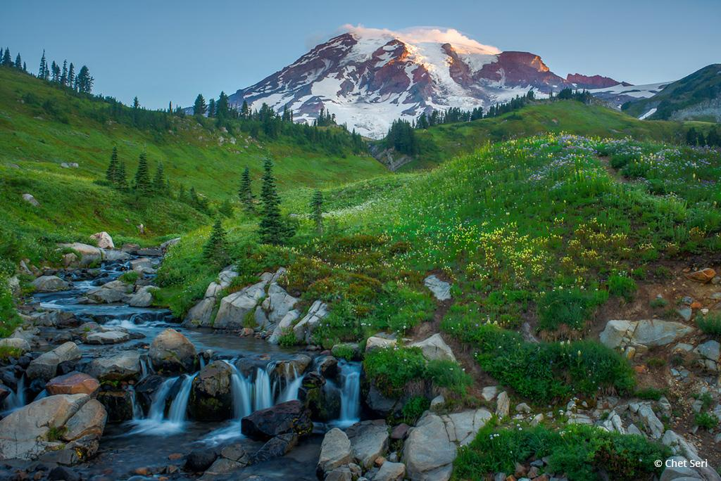 """Today's Photo Of The Day is """"Sunrise over Mount Rainier"""" by Chet Seri. Location: Mount Rainer National Park, Washington."""