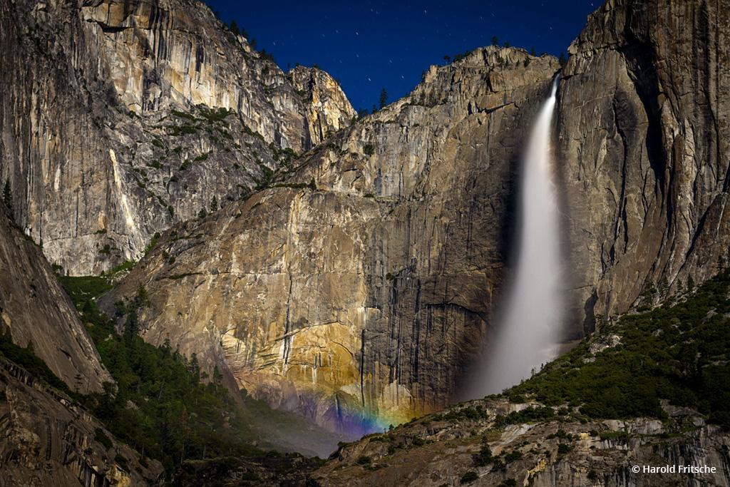 """Today's Photo Of The Day is """"Moonbow at Yosemite Falls"""" by Harold Fritsche. Location: Yosemite National Park, California."""