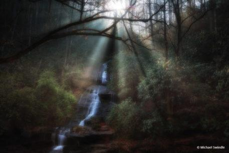 """Today's Photo Of The Day is """"Sun shining on Waterfall"""" by Michael Swindle. Location: Great Smoky Mountains National Park, North Carolina."""