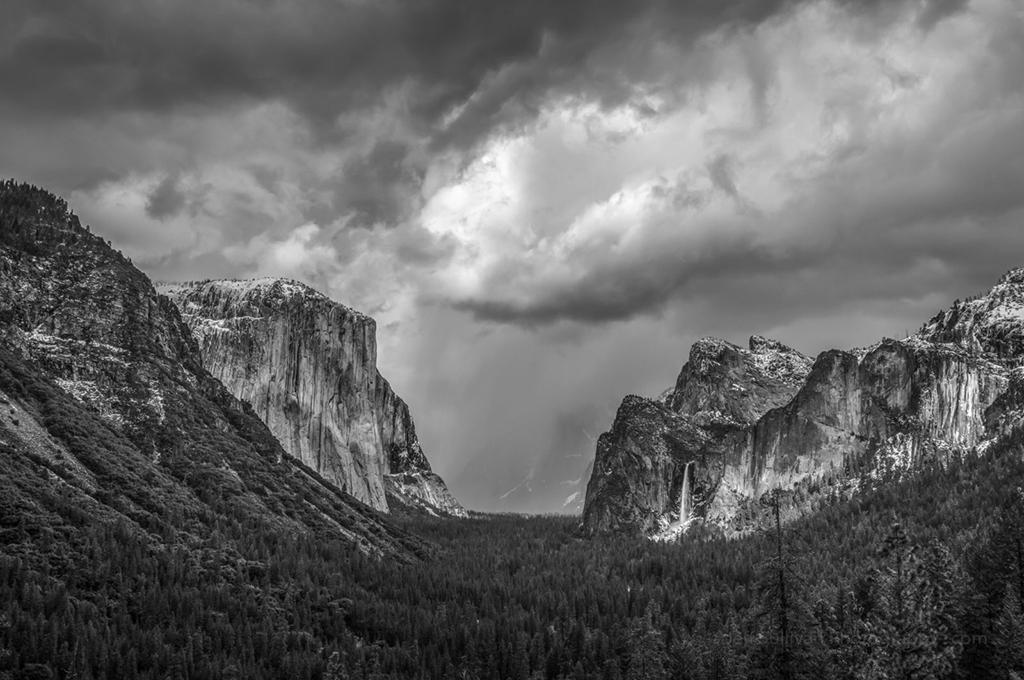 "Today's Photo Of The Day is ""Snow Showers in Yosemite Valley"" by Jeff Sullivan. Location: Yosemite National Park, California."