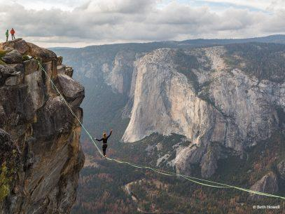 "Congratulations to Beth Howell for winning the Adventure Photography Assignment with the image, ""Taft Point Slacklining."""