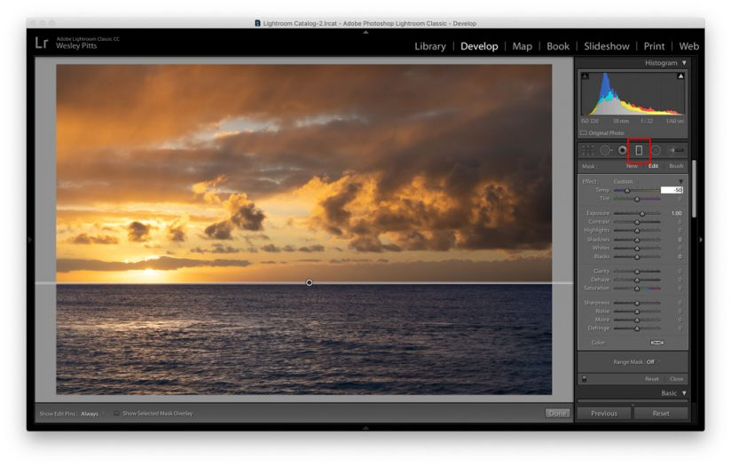 Applying the Graduated Filter tool.