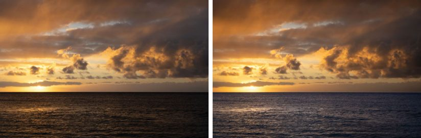 Effects of using the Graduated Filter to apply different white balance settings