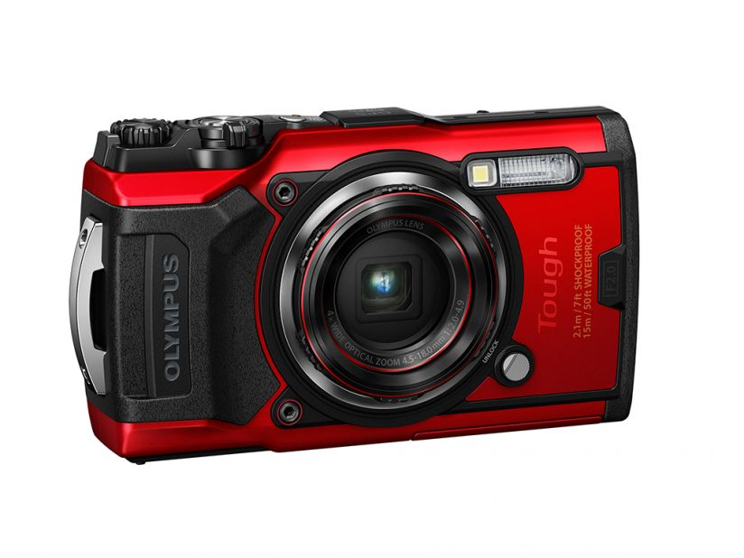 Image of the front of the Olympus Tough TG-6, shown in the red color option.