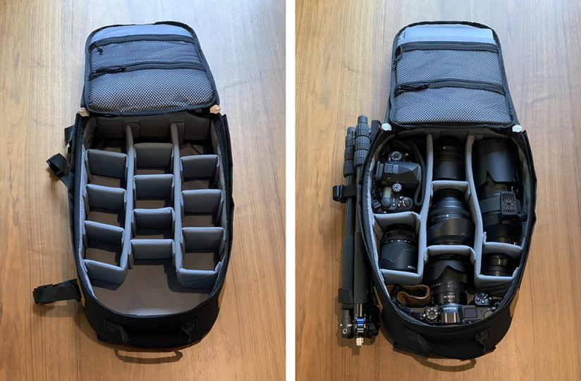 Tamrac Pasadena configured to hold two cameras and multiple lenses.