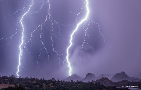 "Today's Photo Of The Day is ""Electric Rain"" by Theresa Ditson. Location: Prescott, Arizona."