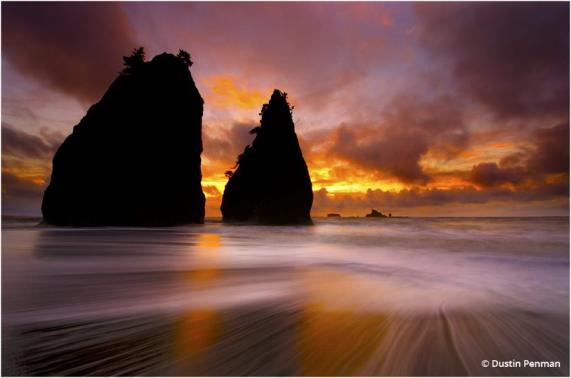 "Today's Photo Of The Day is ""Grand Sunset"" by Dustin Penman. Location: Rialto Beach, Olympic National Park, Washington."