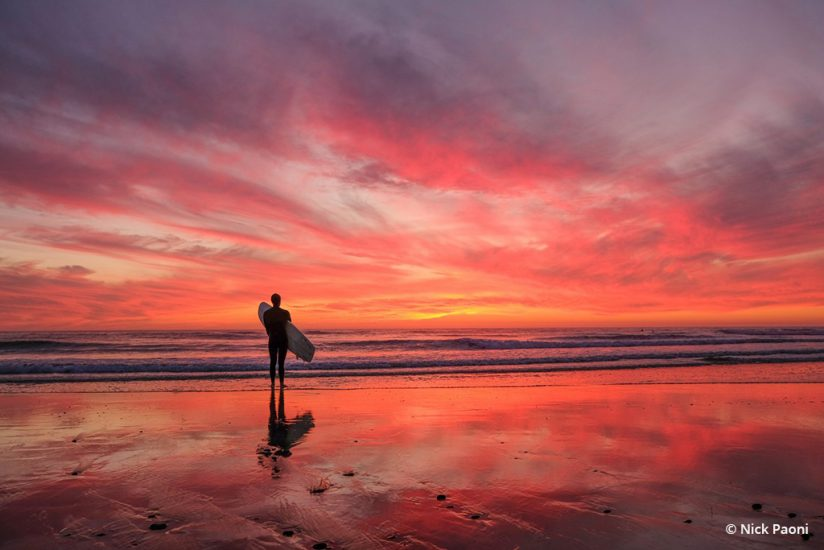 "Today's Photo Of The Day is ""A Surfer Sunset"" by Nick Paoni. Location: Cardiff State Beach, California."