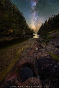 The Milky Way over a River Gorge