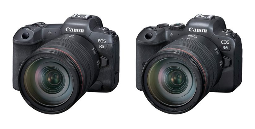 Image of the front of the Canon EOS R5 and Canon EOS R6