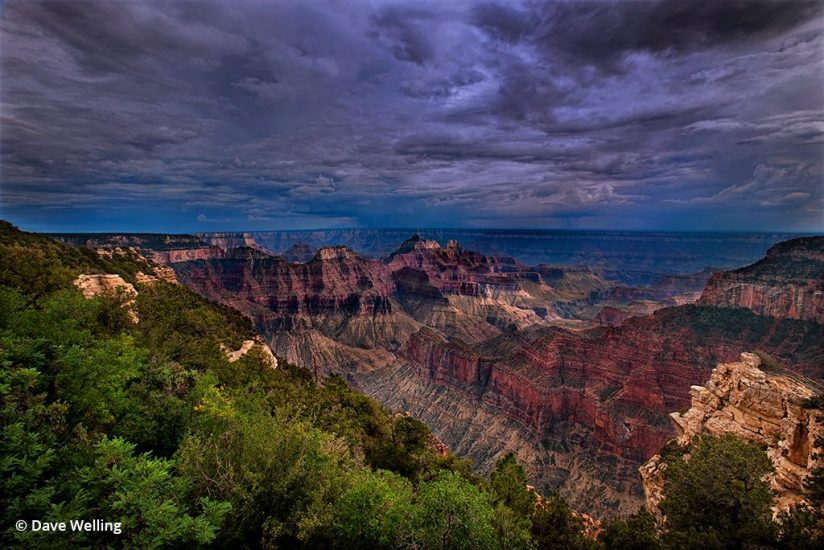 Monsoon photo of a storm forming over Grand Canyon.