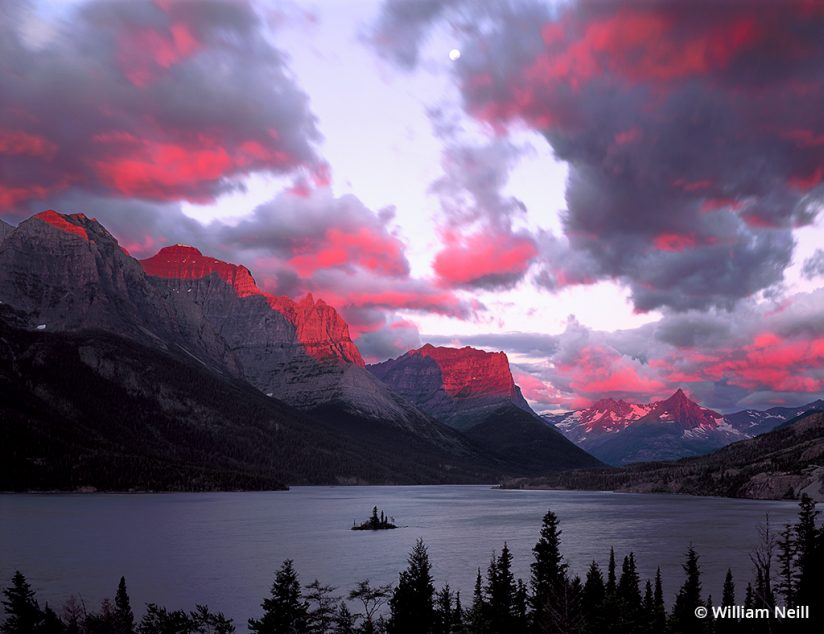 Image of Sunrise storm clouds, St. Mary Lake, Glacier National Park, Montana, 1995.