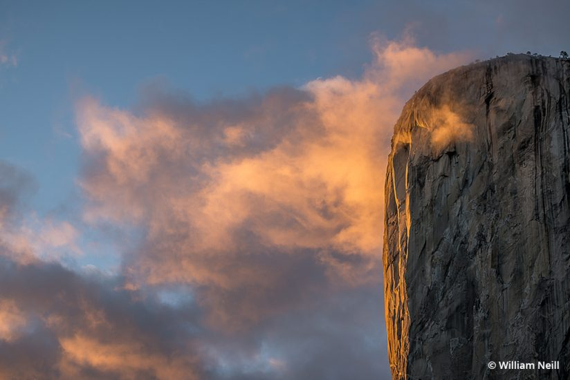 Image of clouds at sunset in Yosemite.
