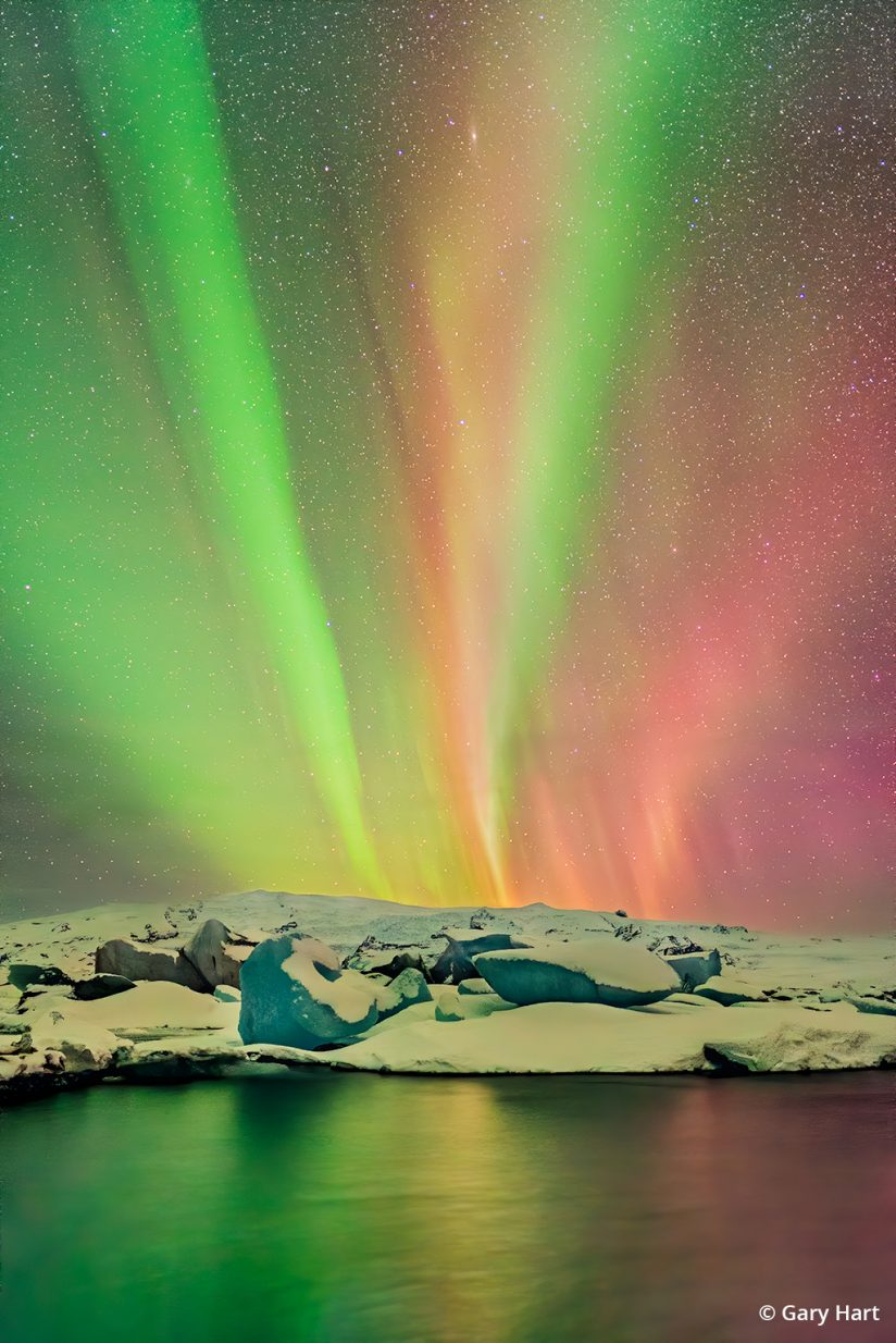 Photograph of the northern lights in Iceland