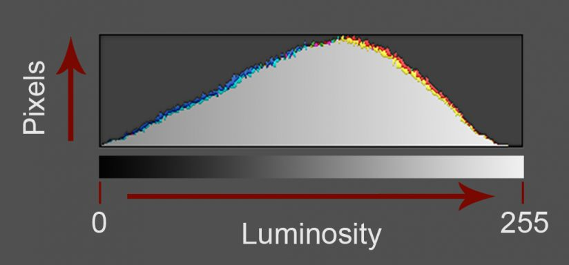 Processing winter photographs: A histogram revealing how data is captured by your camera's sensor.