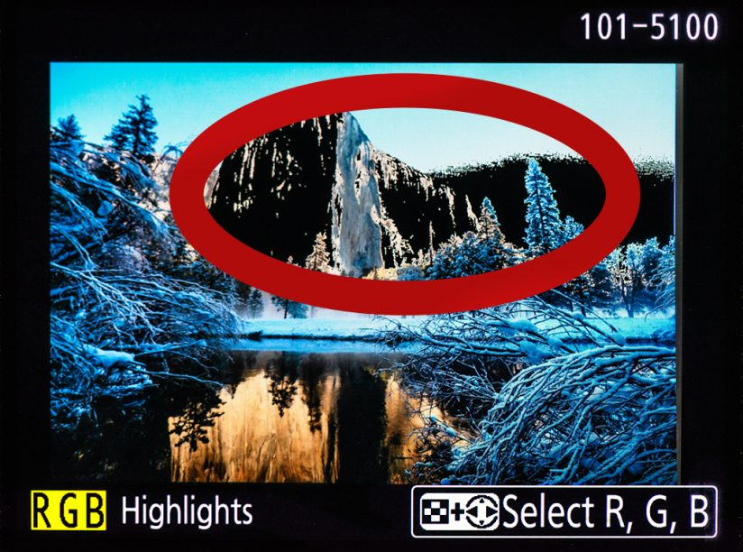 """An image illustrating the """"blinkies"""" displayed by cameras as an exposure warning."""
