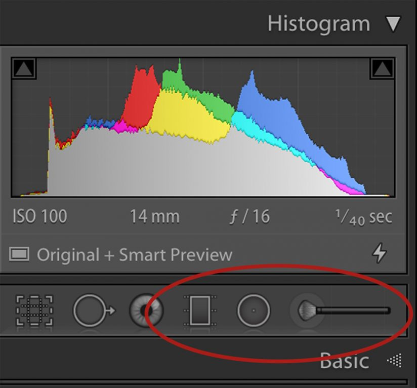 Screen shot of tools available for processing in Lightroom.