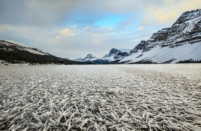 Winter landscape photography: ice crystals on Bow Lake