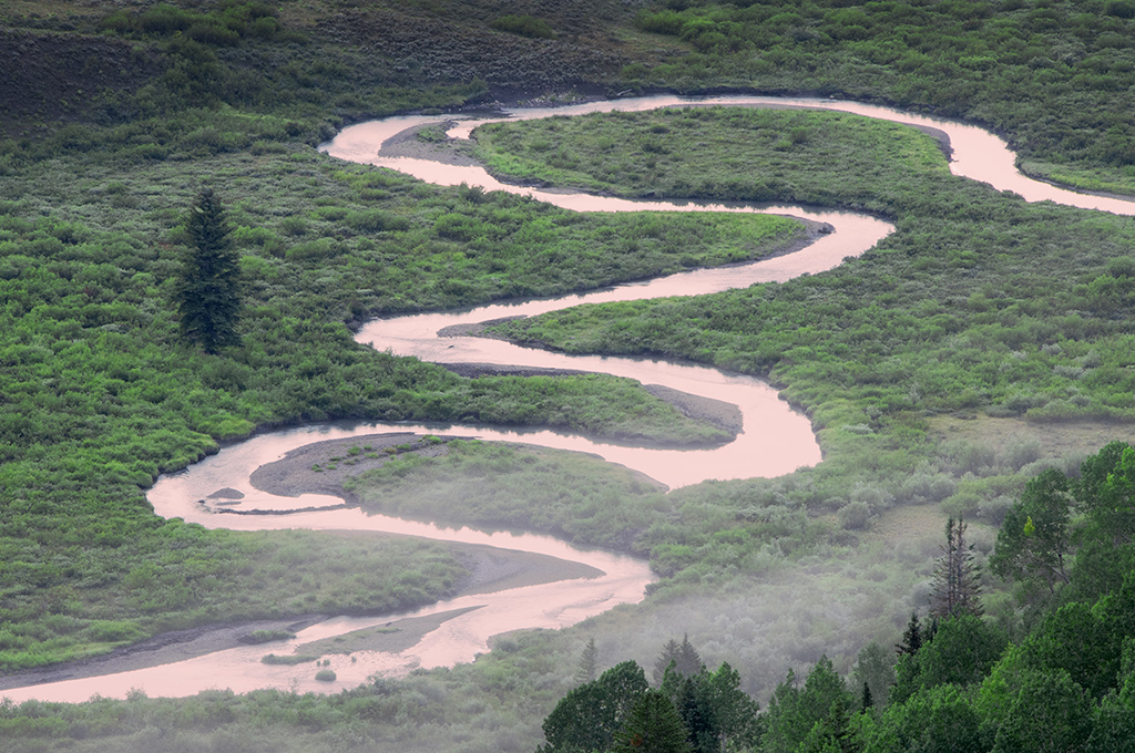 River in the shape of an s curve