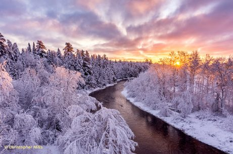 Image of a snowy winter scene at Meduxnekeag River, Maine