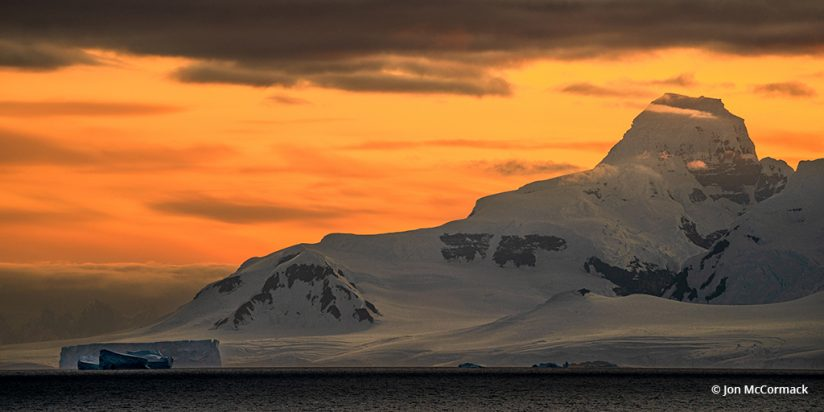 Image of a sunset in Antarctica.