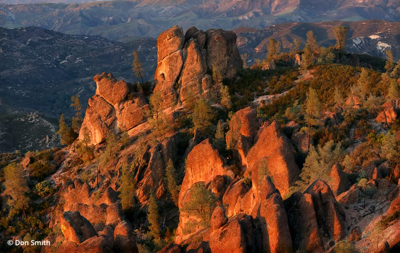Image of sunset on the High Peaks of Pinnacles National Park