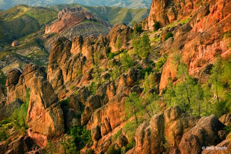 View of volcanic rock formations at Pinnacles National Park
