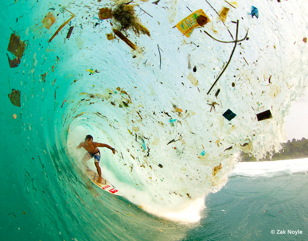 "Image ""Wave of Change"" by Zak Noyle illustrating garbage in the ocean."