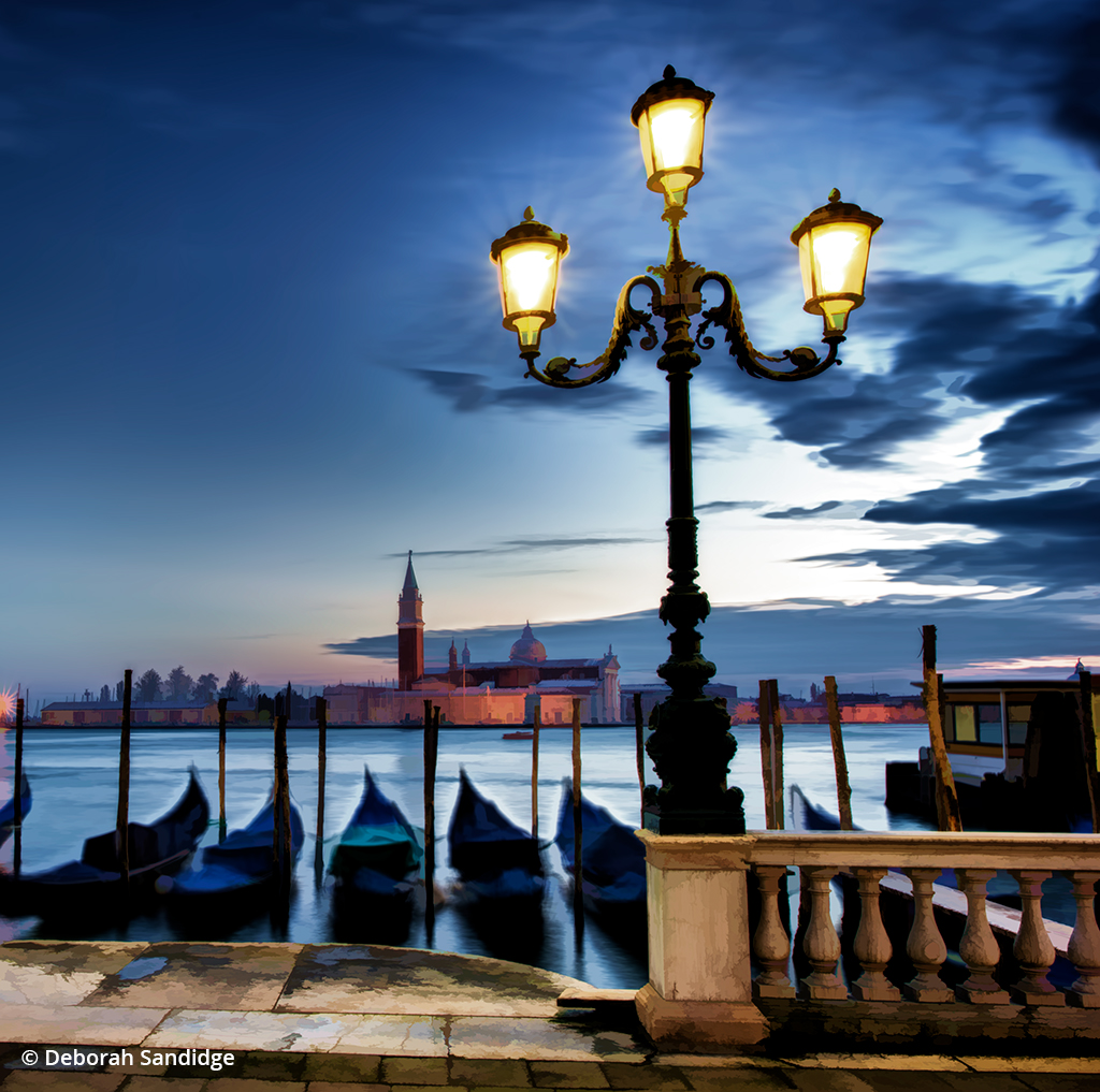 """City lights at night in Venice illustrate the creative effects of shooting during the """"blue"""" hour."""
