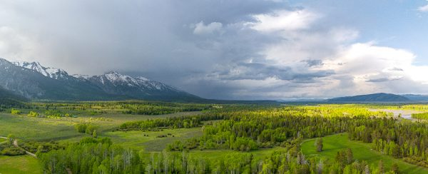 Panoramic image above R Lazy S ranch in Jackson Hole, Wyoming.