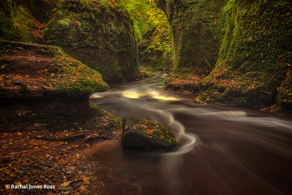 Photo of a river and gorge in Scotland during fall
