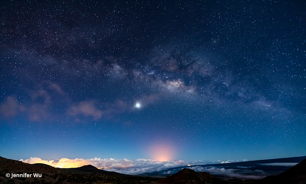 Night sky photography of the Milky Way and a volcanic eruption in Hawaii.