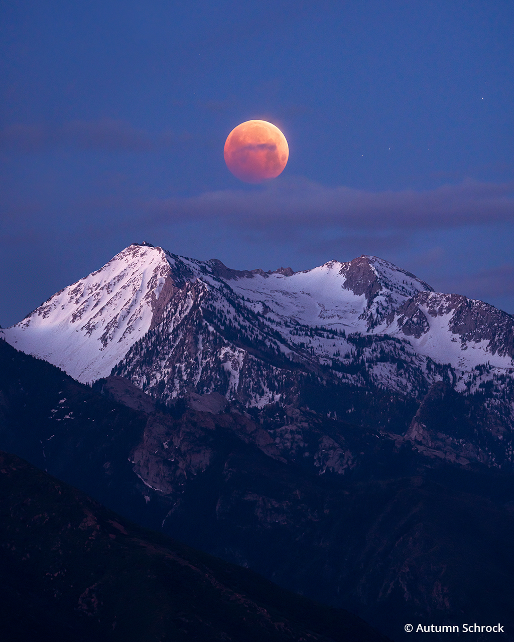 Photograph of the moon during a lunar eclipse event.
