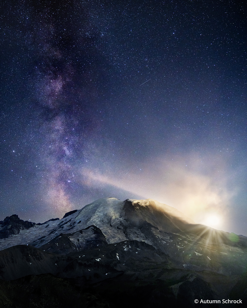Photograph of the moon and Milky Way at Mount Rainier National Park.